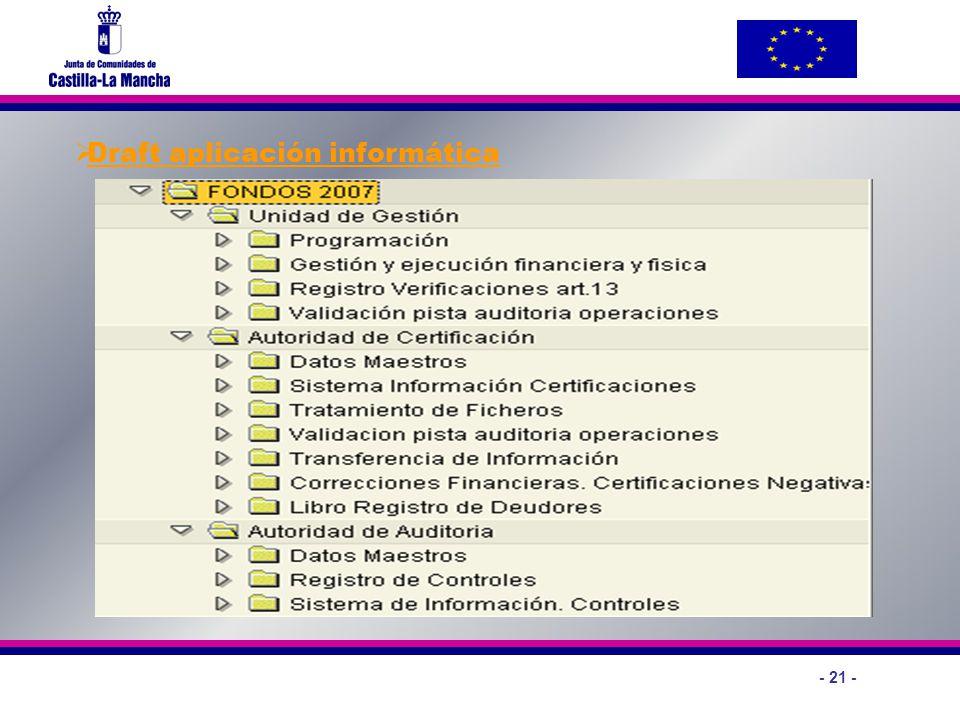 - 21 - Draft aplicación informática
