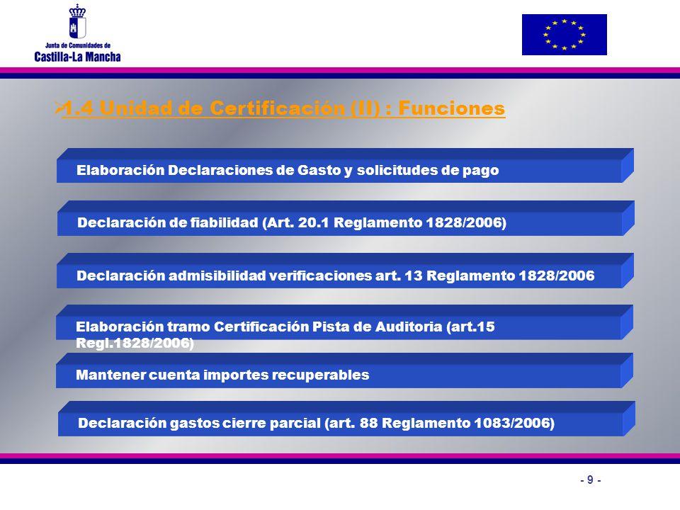 - 9 - 1.4 Unidad de Certificación (II) : Funciones Elaboración Declaraciones de Gasto y solicitudes de pago Declaración admisibilidad verificaciones a