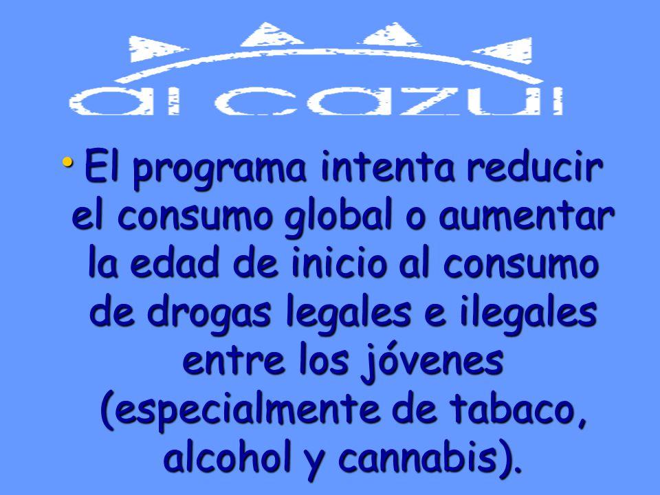 El programa intenta reducir el consumo global o aumentar la edad de inicio al consumo de drogas legales e ilegales entre los jóvenes (especialmente de tabaco, alcohol y cannabis).