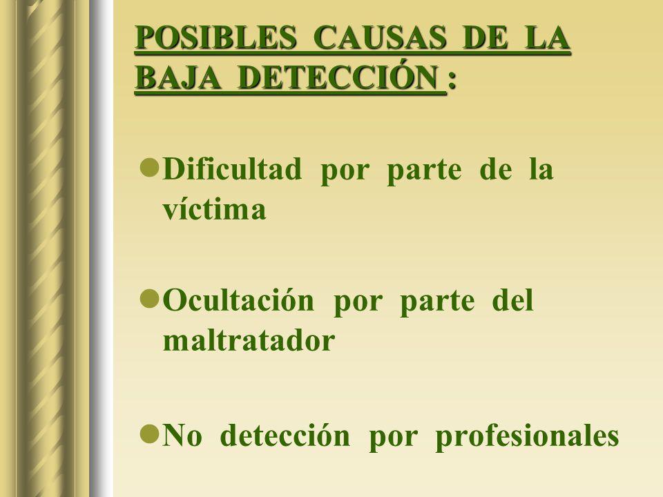 POSIBLES CAUSAS DE LA BAJA DETECCIÓN : Dificultad por parte de la víctima Ocultación por parte del maltratador No detección por profesionales