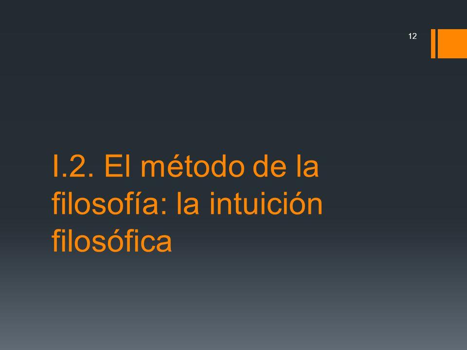 I.2. El método de la filosofía: la intuición filosófica 12