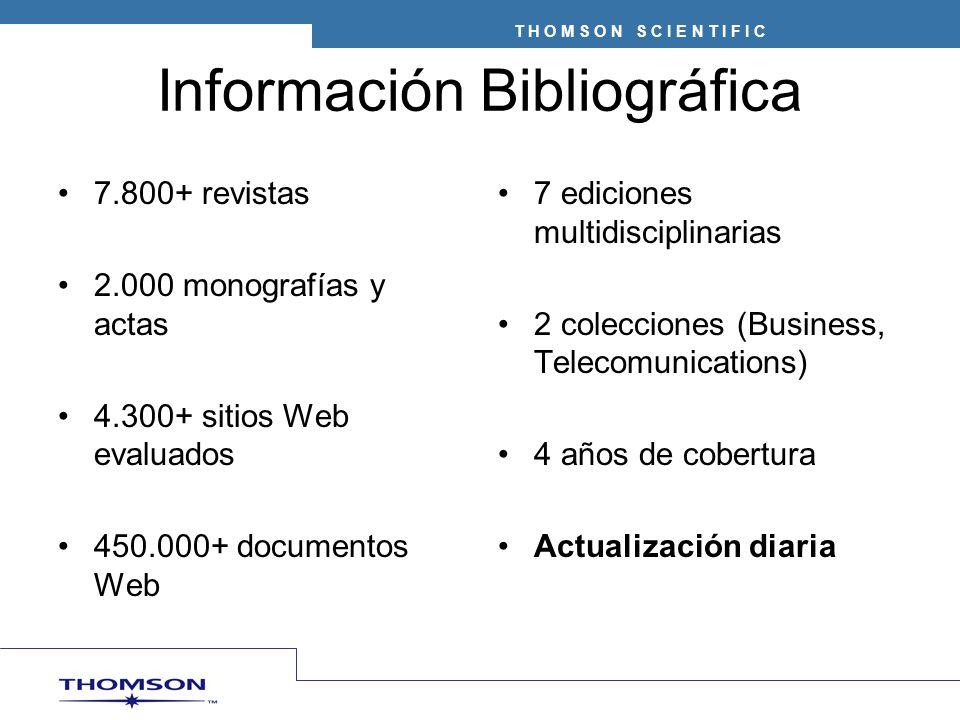 Información Bibliográfica 7.800+ revistas 2.000 monografías y actas 4.300+ sitios Web evaluados 450.000+ documentos Web 7 ediciones multidisciplinarias 2 colecciones (Business, Telecomunications) 4 años de cobertura Actualización diaria