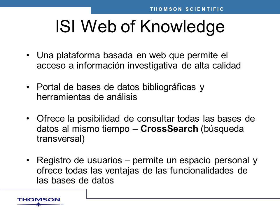 Journal Citation Reports (JCR) Ofrece un medio objetivo y sistemático para evaluar de manera crítica las publicaciones líderes mundiales Presenta datos estadísticos medibles que proporcionan una manera de determinar la importancia relativa de revistas dentro de sus categorías temáticas
