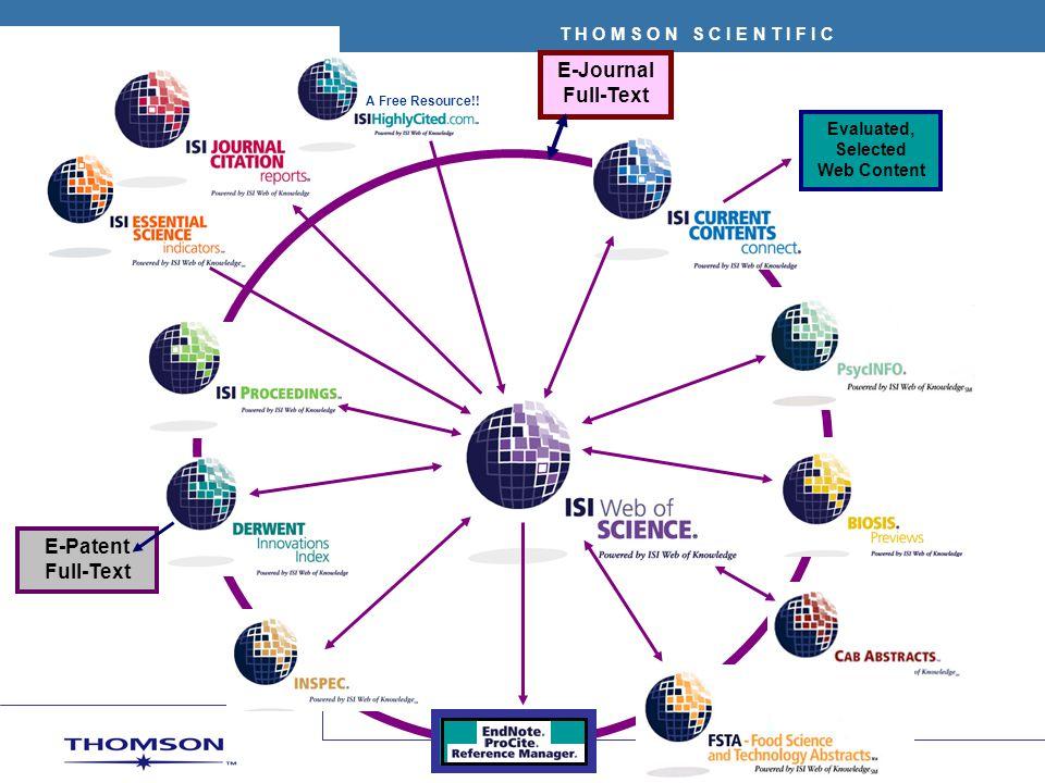 T H O M S O N S C I E N T I F I C Ediciones Science Edition: 5.600 revistas Social Sciences Edition: 1.600 revistas Actualización anual