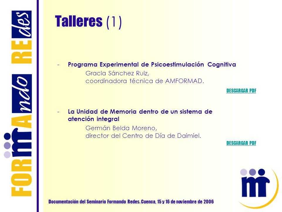 Talleres (1) Documentación del Seminario Formando Redes. Cuenca, 15 y 16 de noviembre de 2006 - Programa Experimental de Psicoestimulación Cognitiva G