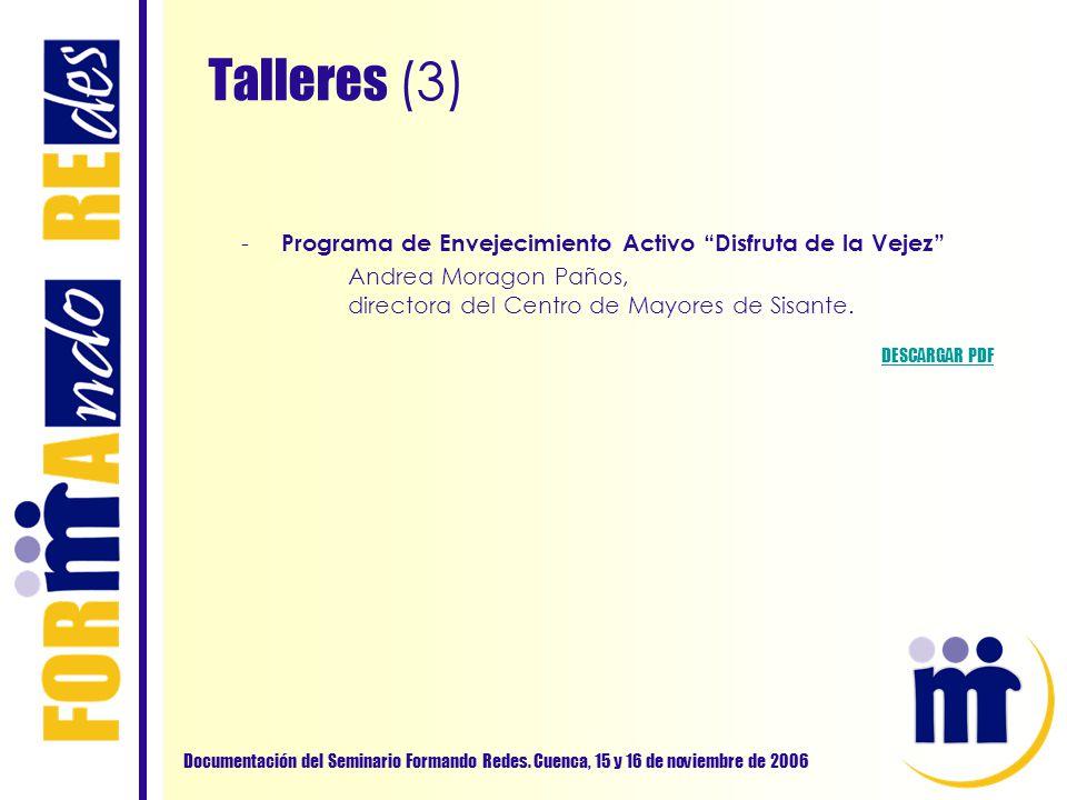 Talleres (3) Documentación del Seminario Formando Redes. Cuenca, 15 y 16 de noviembre de 2006 - Programa de Envejecimiento Activo Disfruta de la Vejez