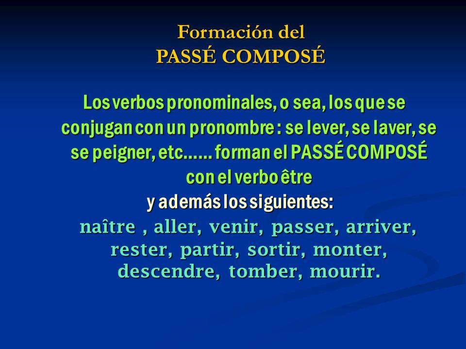 Los verbos pronominales, o sea, los que se conjugan con un pronombre : se lever, se laver, se se peigner, etc…...