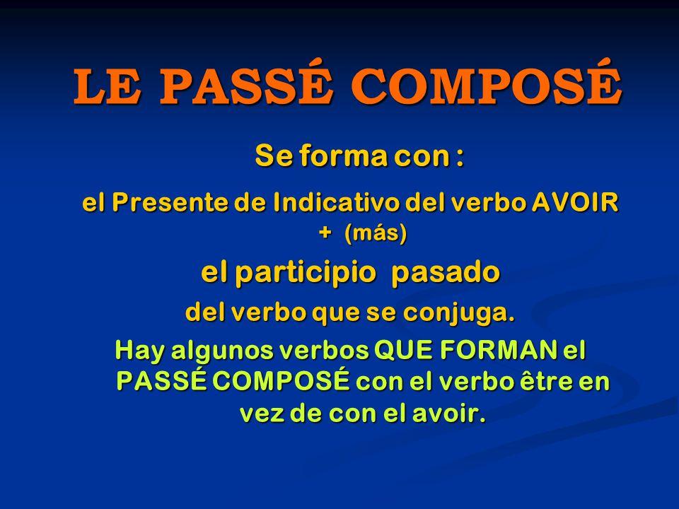 LE PASSÉ COMPOSÉ Se forma con : el Presente de Indicativo del verbo AVOIR + (más) el participio pasado del verbo que se conjuga.