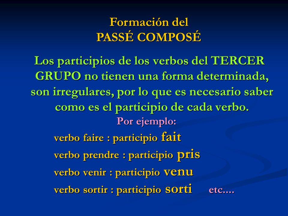 Los participios de los verbos del TERCER GRUPO no tienen una forma determinada, son irregulares, por lo que es necesario saber como es el participio de cada verbo.