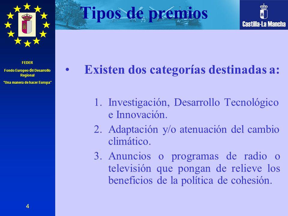 FEDER Fondo Europeo de Desarrollo Regional Una manera de hacer Europa 4 Tipos de premios Existen dos categorías destinadas a: 1.Investigación, Desarro