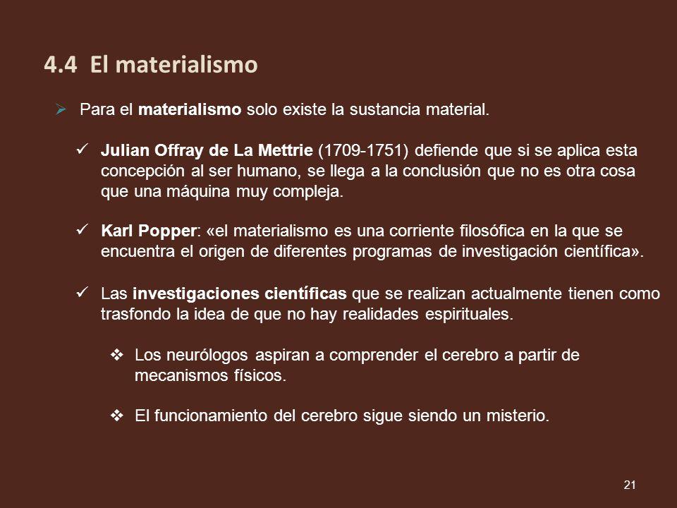 Para el materialismo solo existe la sustancia material. Karl Popper: «el materialismo es una corriente filosófica en la que se encuentra el origen de