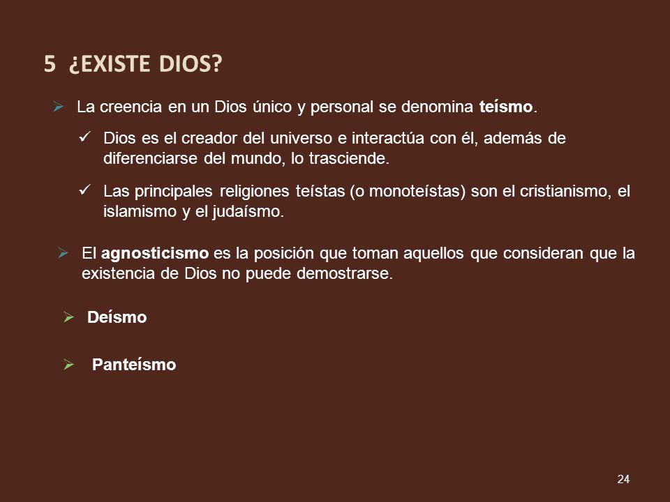 El agnosticismo es la posición que toman aquellos que consideran que la existencia de Dios no puede demostrarse. La creencia en un Dios único y person