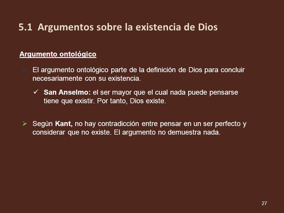 Argumento ontológico El argumento ontológico parte de la definición de Dios para concluir necesariamente con su existencia. San Anselmo: el ser mayor