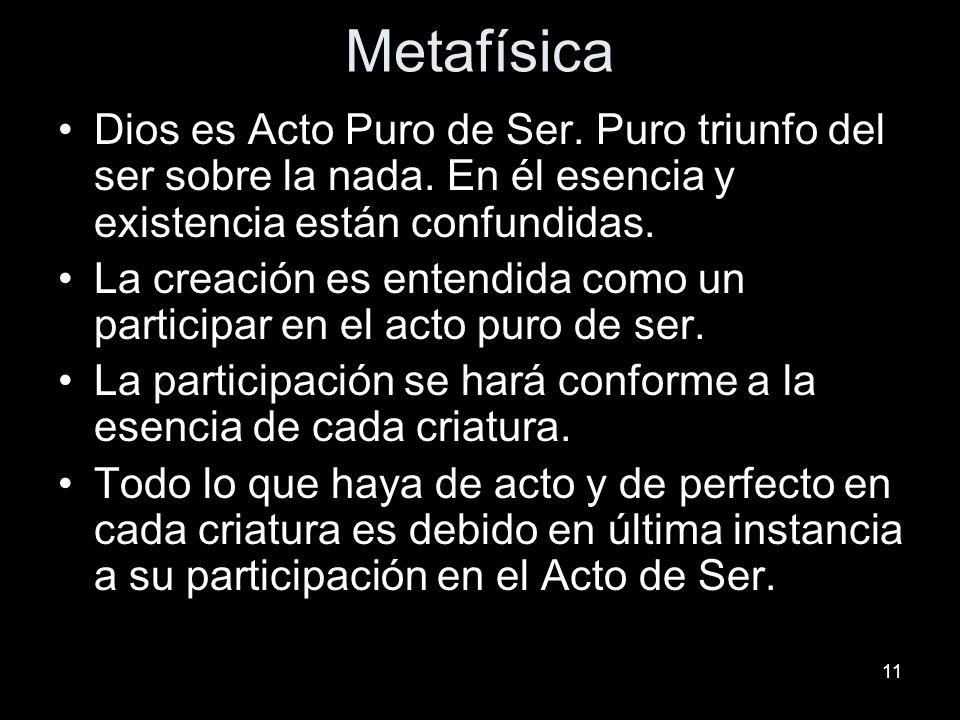 11 Metafísica Dios es Acto Puro de Ser. Puro triunfo del ser sobre la nada. En él esencia y existencia están confundidas. La creación es entendida com