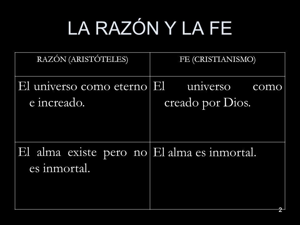 2 LA RAZÓN Y LA FE RAZÓN (ARISTÓTELES)FE (CRISTIANISMO) El universo como eterno e increado. El universo como creado por Dios. El alma existe pero no e