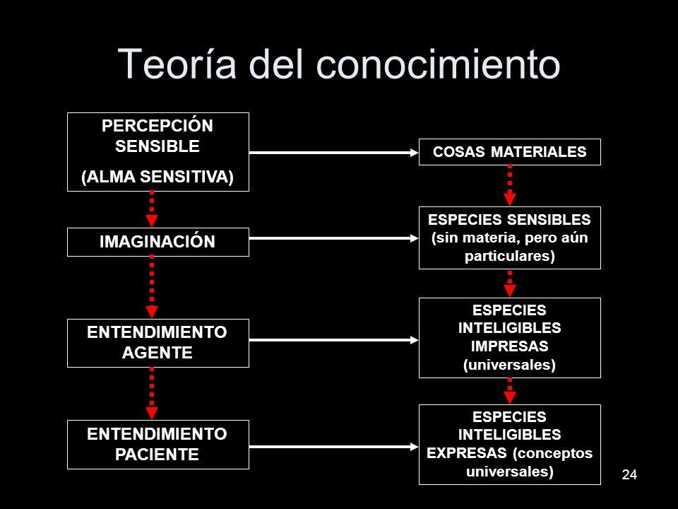 24 Teoría del conocimiento PERCEPCIÓN SENSIBLE (ALMA SENSITIVA) IMAGINACIÓN ENTENDIMIENTO PACIENTE ENTENDIMIENTO AGENTE COSAS MATERIALES ESPECIES SENS