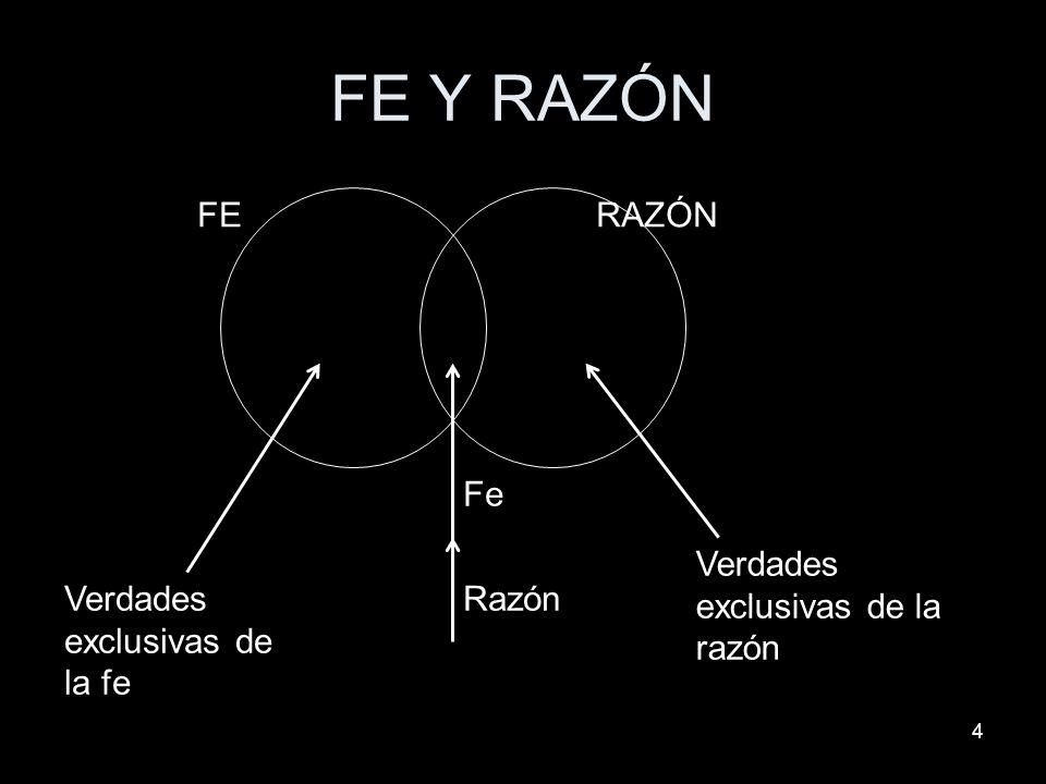 4 FE Y RAZÓN Verdades exclusivas de la fe Verdades exclusivas de la razón Fe Razón FERAZÓN