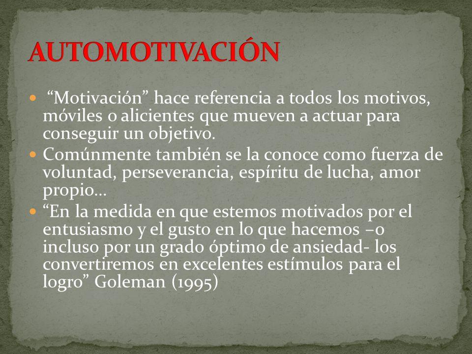 Motivación hace referencia a todos los motivos, móviles o alicientes que mueven a actuar para conseguir un objetivo. Comúnmente también se la conoce c