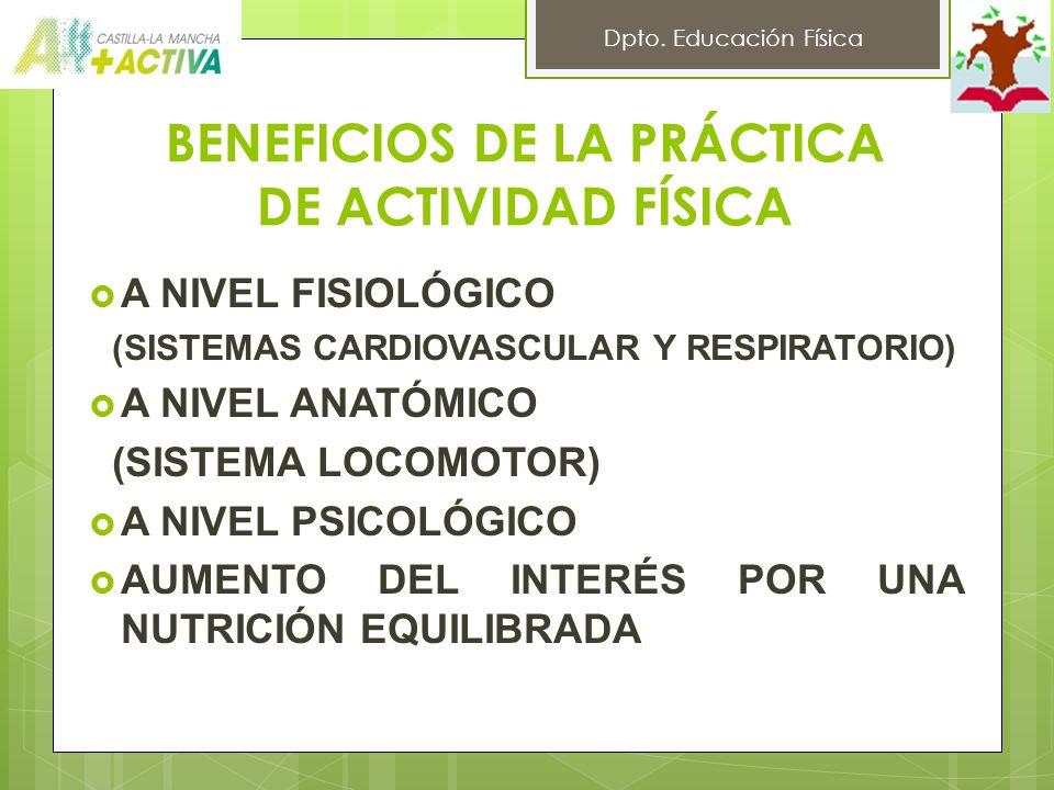 BENEFICIOS DE LA PRÁCTICA DE ACTIVIDAD FÍSICA A NIVEL FISIOLÓGICO (SISTEMAS CARDIOVASCULAR Y RESPIRATORIO) A NIVEL ANATÓMICO (SISTEMA LOCOMOTOR) A NIVEL PSICOLÓGICO AUMENTO DEL INTERÉS POR UNA NUTRICIÓN EQUILIBRADA Dpto.