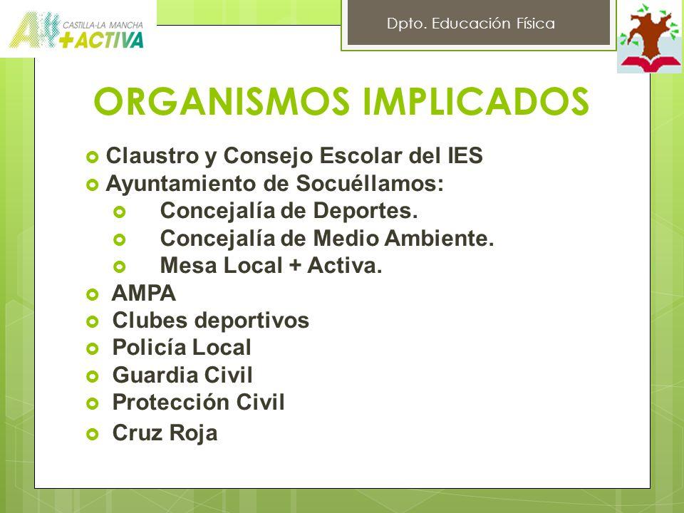 ORGANISMOS IMPLICADOS Claustro y Consejo Escolar del IES Ayuntamiento de Socuéllamos: Concejalía de Deportes.