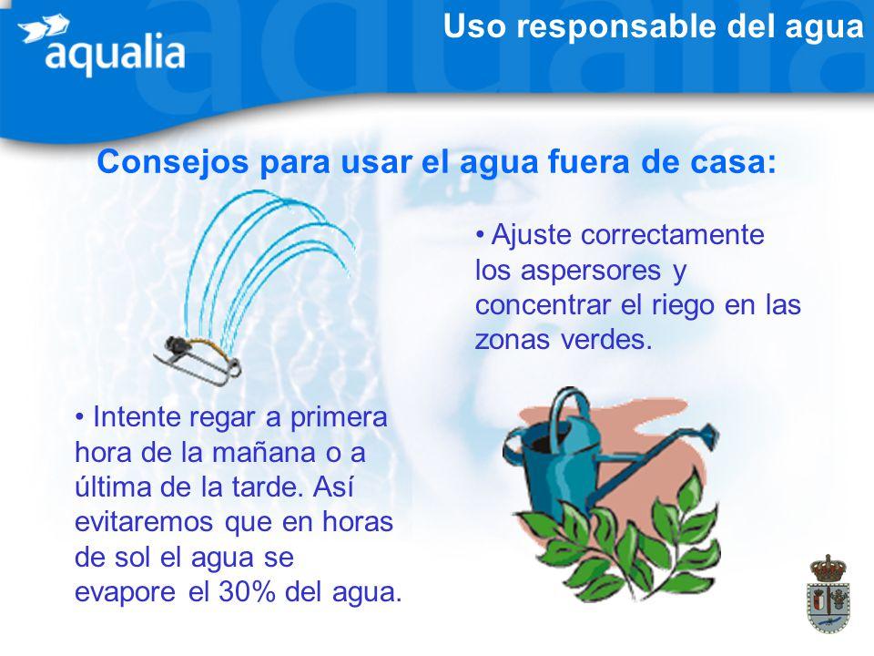 Uso responsable del agua Consejos para usar el agua fuera de casa: Ajuste correctamente los aspersores y concentrar el riego en las zonas verdes. Inte