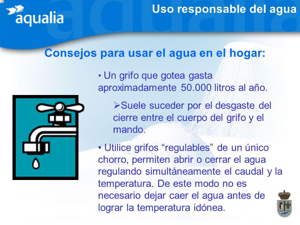 Uso responsable del agua Consejos para usar el agua en el hogar: Un grifo que gotea gasta aproximadamente 50.000 litros al año. Suele suceder por el d
