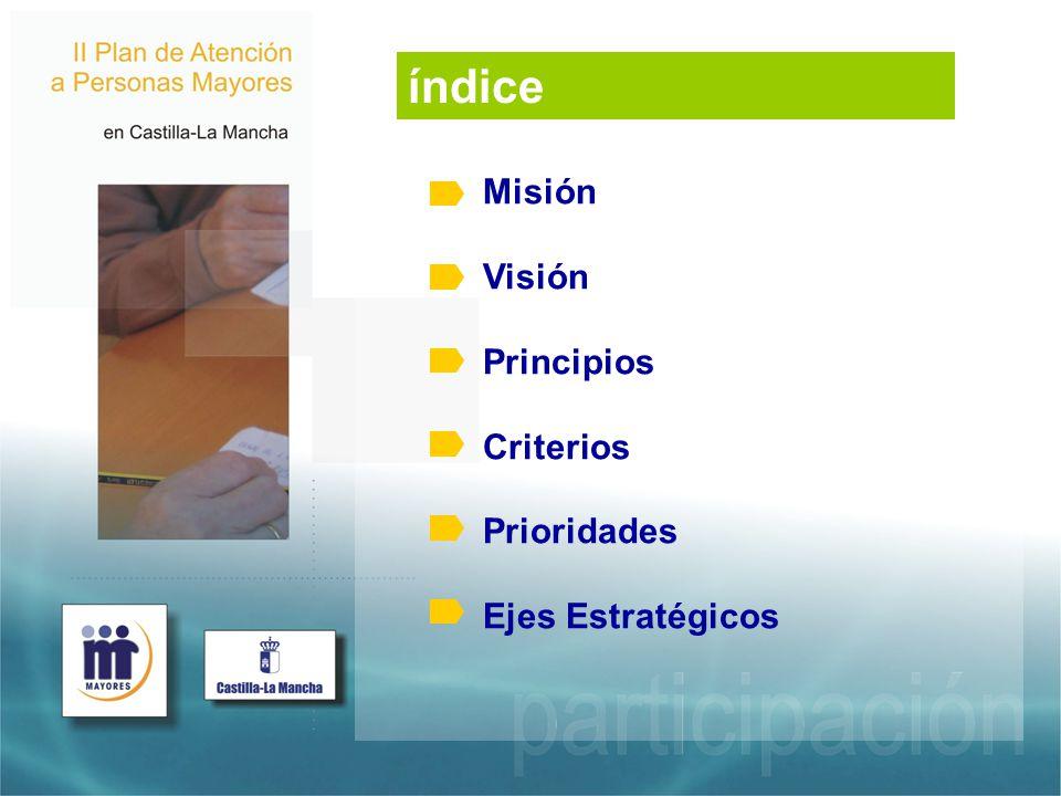 Misión Visión Principios Criterios Prioridades Ejes Estratégicos índice