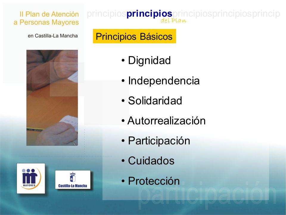 principiosprincipiosprincipiosprincipiosprincip Principios Básicos Dignidad Independencia Solidaridad Autorrealización Participación Cuidados Protección del Plan