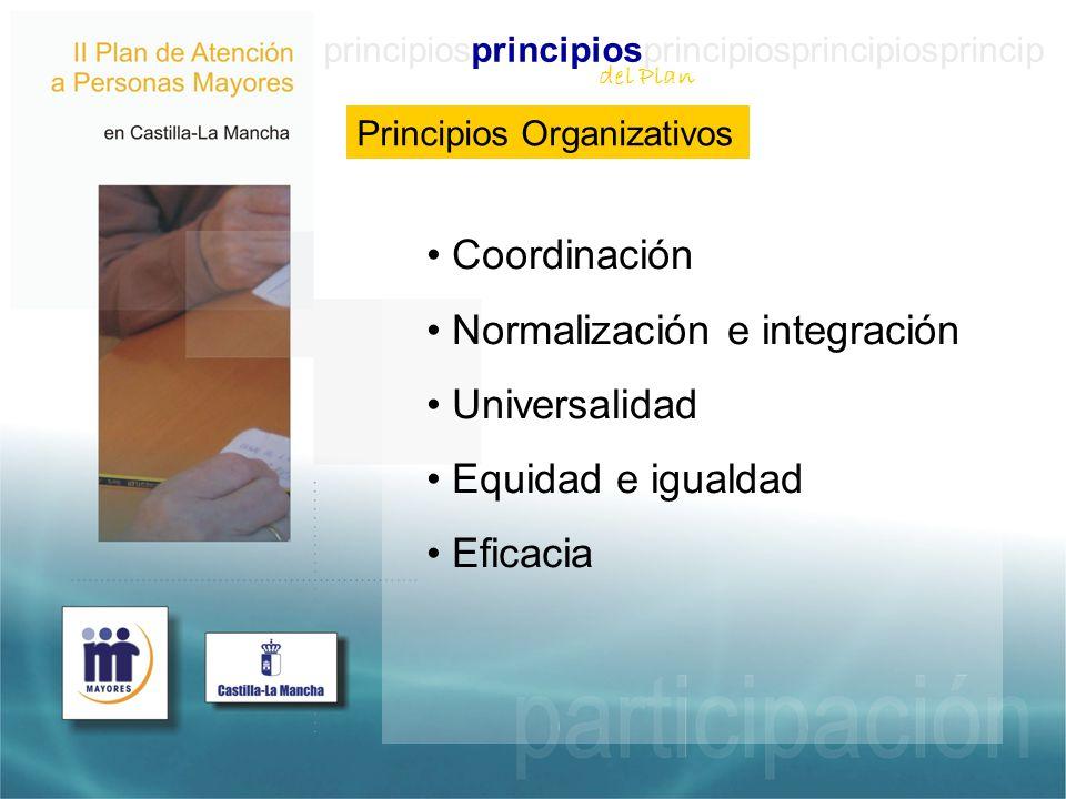 principiosprincipiosprincipiosprincipiosprincip Principios Organizativos Coordinación Normalización e integración Universalidad Equidad e igualdad Eficacia del Plan