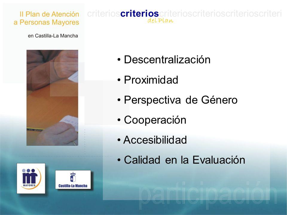 criterioscriterioscriterioscriterioscriterioscriteri Descentralización Proximidad Perspectiva de Género Cooperación Accesibilidad Calidad en la Evaluación del Plan