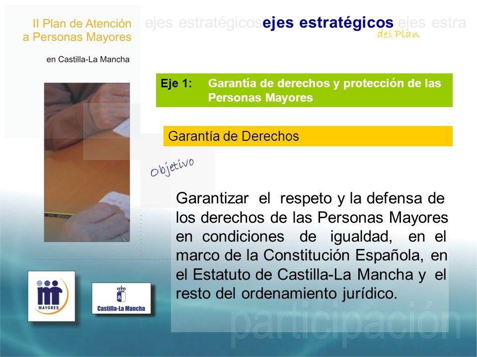 ejes estratégicosejes estratégicos ejes estra Eje 1: Garantía de derechos y protección de las Personas Mayores Garantizar el respeto y la defensa de los derechos de las Personas Mayores en condiciones de igualdad, en el marco de la Constitución Española, en el Estatuto de Castilla-La Mancha y el resto del ordenamiento jurídico.