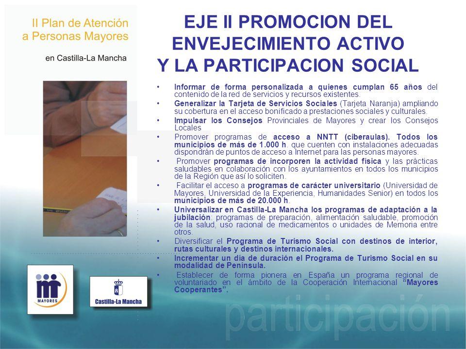 EJE II PROMOCION DEL ENVEJECIMIENTO ACTIVO Y LA PARTICIPACION SOCIAL Informar de forma personalizada a quienes cumplan 65 años del contenido de la red de servicios y recursos existentes.