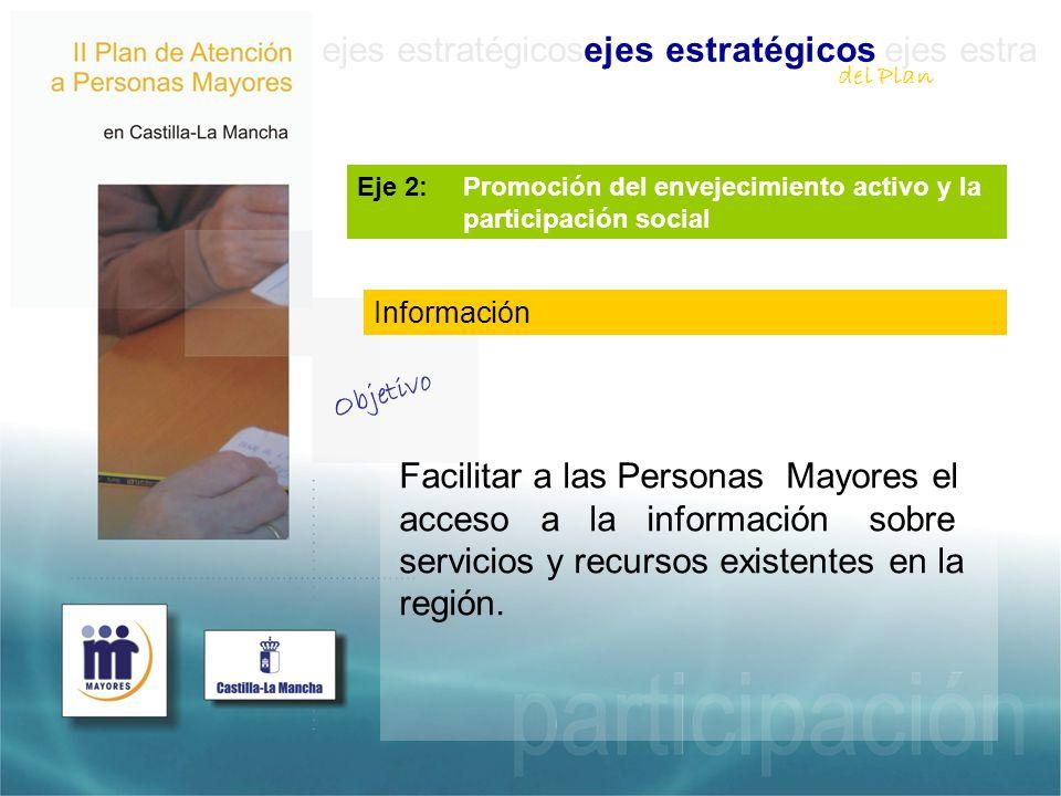 ejes estratégicosejes estratégicos ejes estra Eje 2: Promoción del envejecimiento activo y la participación social Facilitar a las Personas Mayores el acceso a la información sobre servicios y recursos existentes en la región.