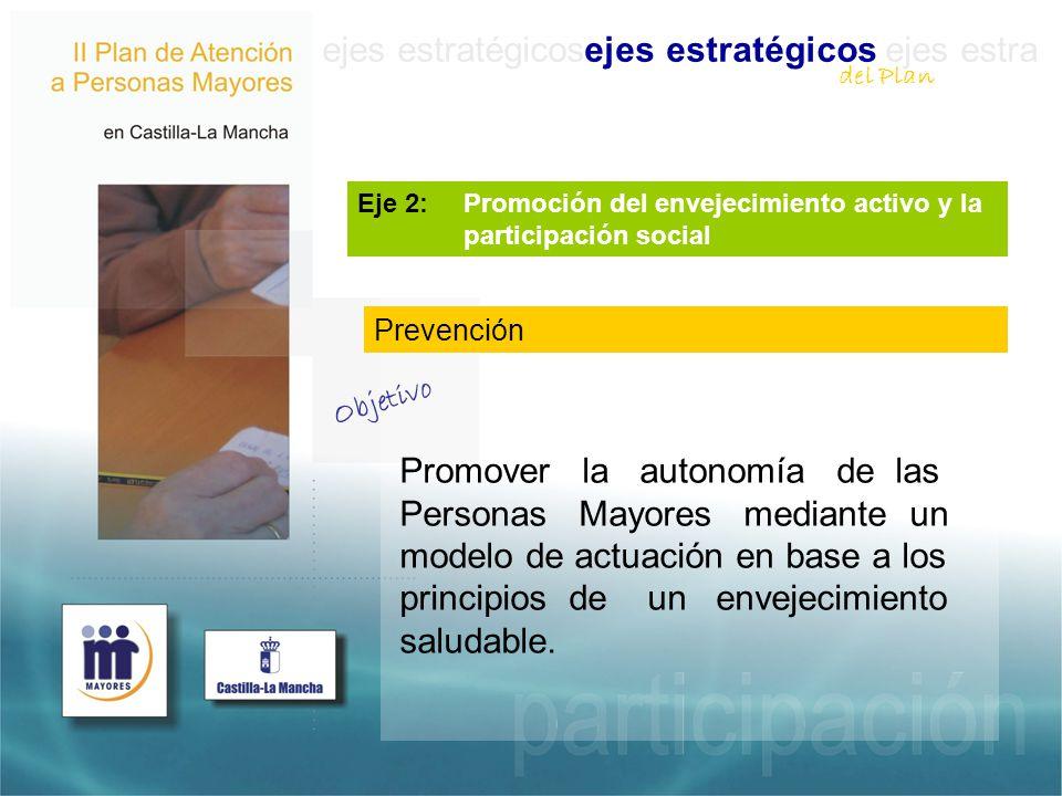 ejes estratégicosejes estratégicos ejes estra Eje 2: Promoción del envejecimiento activo y la participación social Promover la autonomía de las Personas Mayores mediante un modelo de actuación en base a los principios de un envejecimiento saludable.