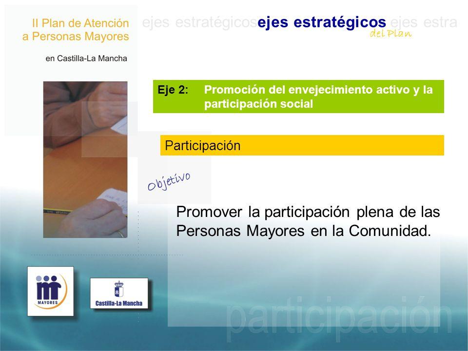 ejes estratégicosejes estratégicos ejes estra Eje 2: Promoción del envejecimiento activo y la participación social Promover la participación plena de las Personas Mayores en la Comunidad.