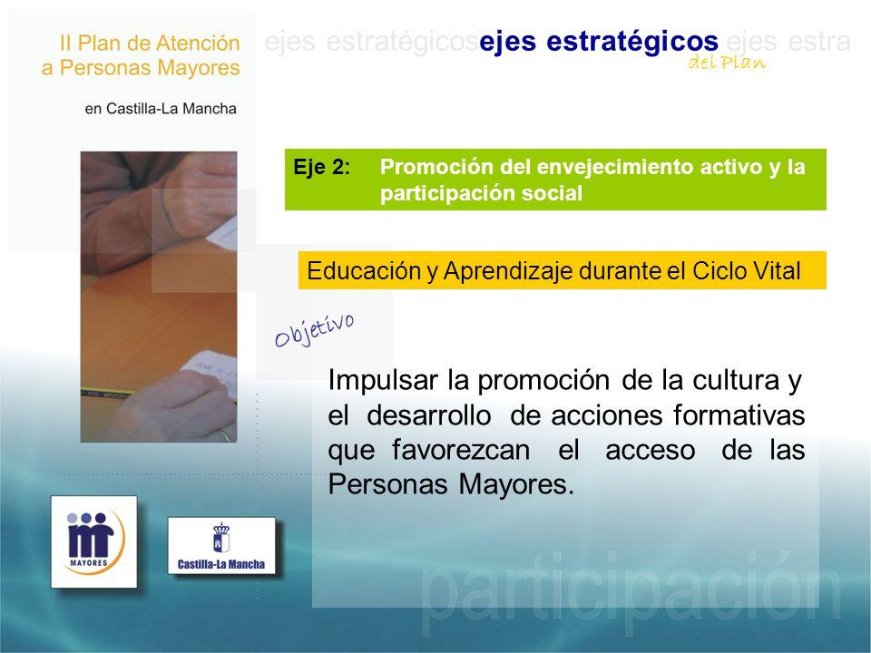 ejes estratégicosejes estratégicos ejes estra Eje 2: Promoción del envejecimiento activo y la participación social Impulsar la promoción de la cultura y el desarrollo de acciones formativas que favorezcan el acceso de las Personas Mayores.
