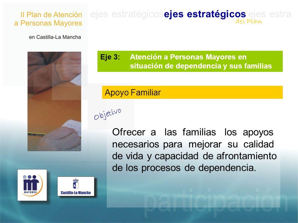 ejes estratégicosejes estratégicos ejes estra Ofrecer a las familias los apoyos necesarios para mejorar su calidad de vida y capacidad de afrontamiento de los procesos de dependencia.