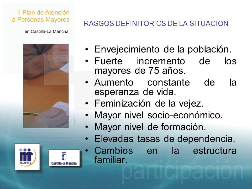 RASGOS DEFINITORIOS DE LA SITUACION Envejecimiento de la población.