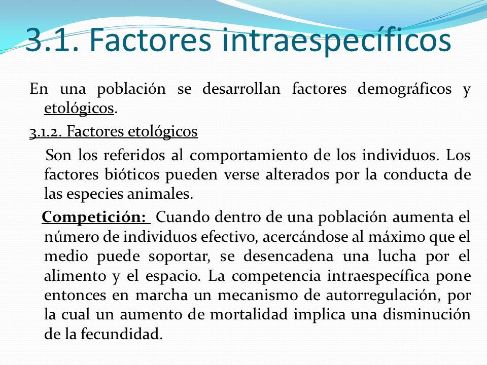 3.1. Factores intraespecíficos En una población se desarrollan factores demográficos y etológicos. 3.1.2. Factores etológicos Son los referidos al com