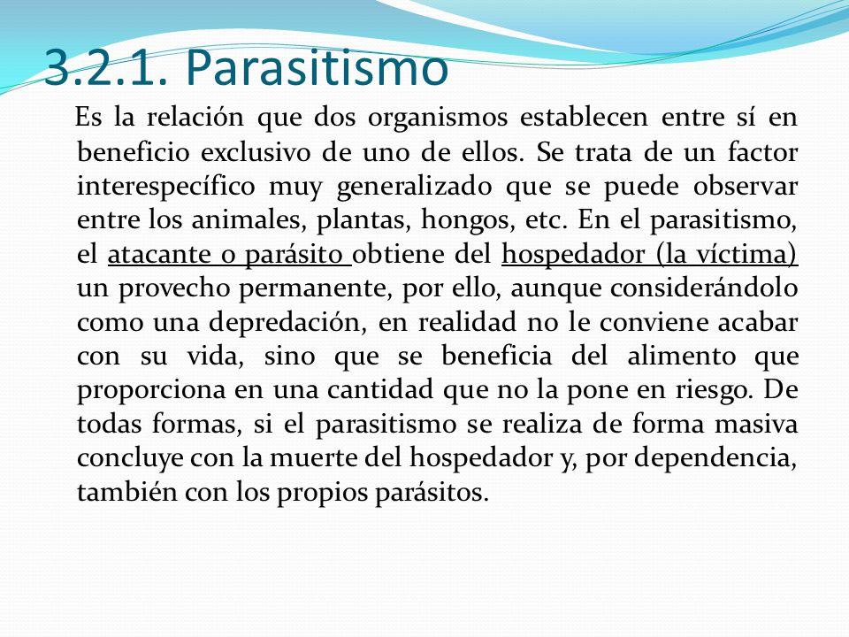 3.2.1. Parasitismo Es la relación que dos organismos establecen entre sí en beneficio exclusivo de uno de ellos. Se trata de un factor interespecífico