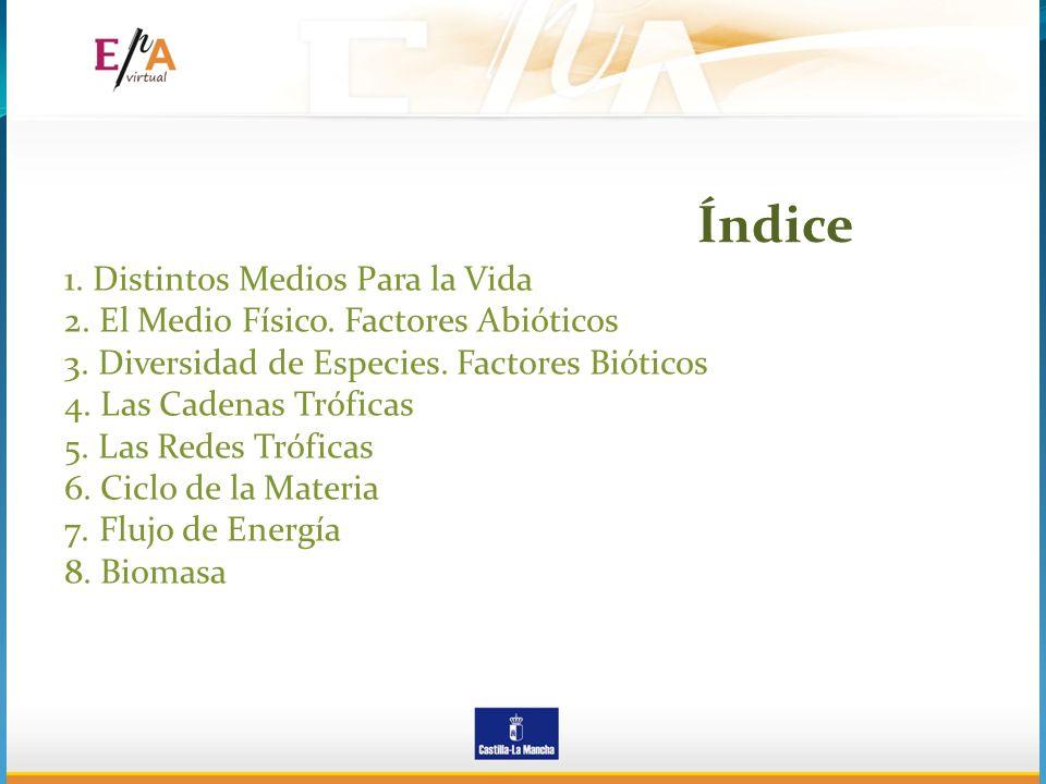 1. Distintos Medios Para la Vida 2. El Medio Físico. Factores Abióticos 3. Diversidad de Especies. Factores Bióticos 4. Las Cadenas Tróficas 5. Las Re
