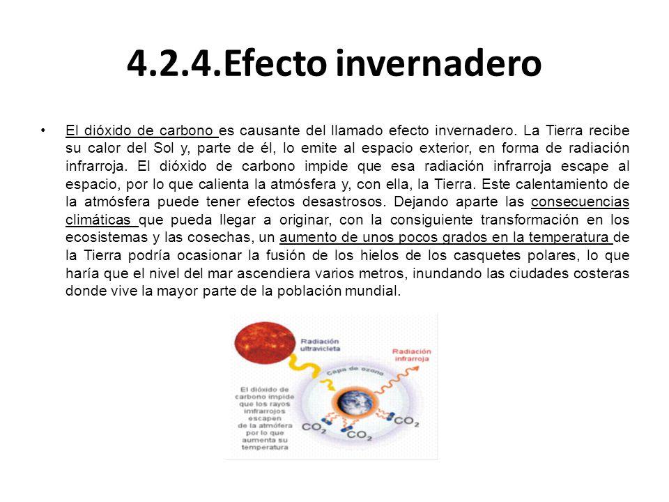 4.2.4.Efecto invernadero El dióxido de carbono es causante del llamado efecto invernadero. La Tierra recibe su calor del Sol y, parte de él, lo emite