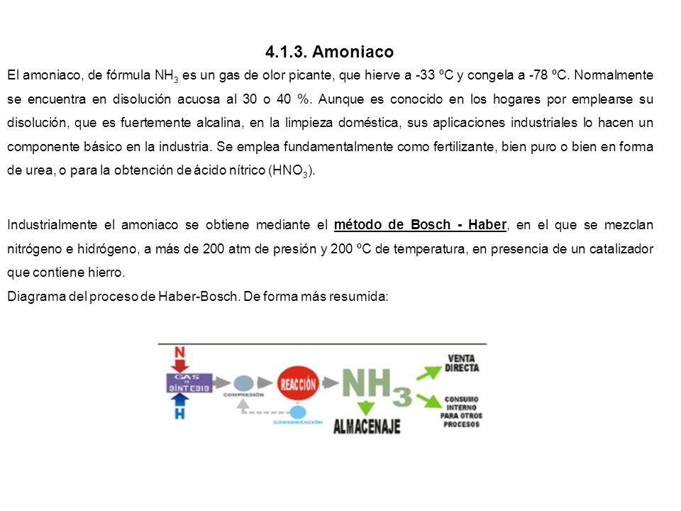 4.1.3. Amoniaco El amoniaco, de fórmula NH 3 es un gas de olor picante, que hierve a -33 ºC y congela a -78 ºC. Normalmente se encuentra en disolución
