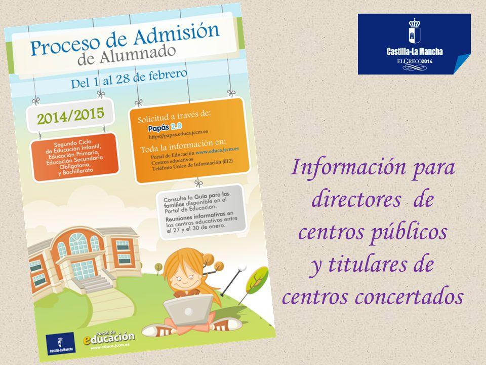 Información para directores de centros públicos y titulares de centros concertados