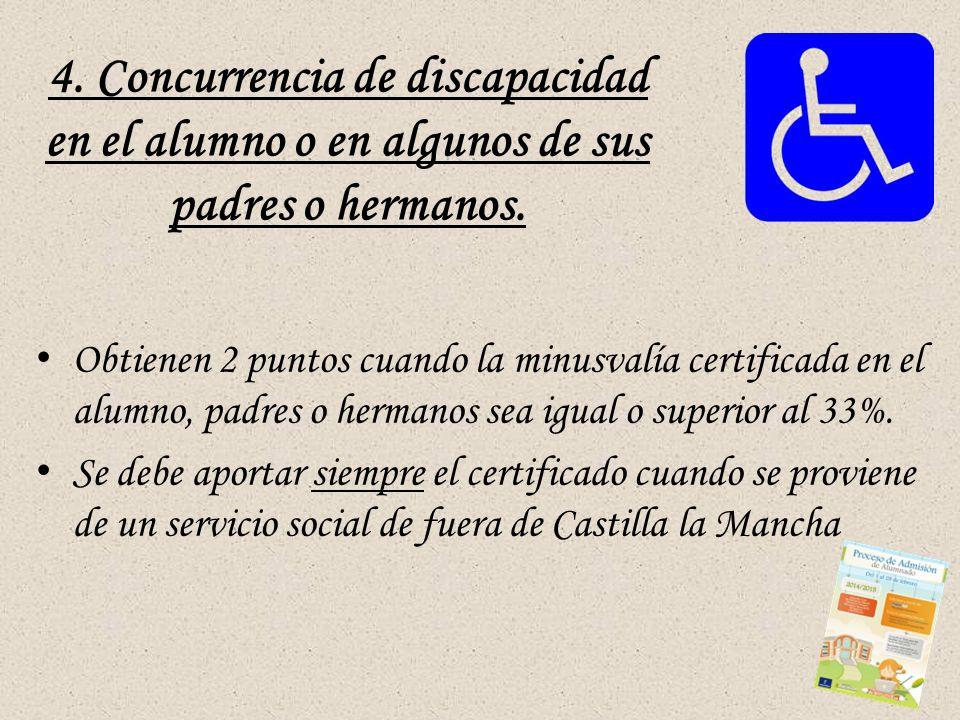 4. Concurrencia de discapacidad en el alumno o en algunos de sus padres o hermanos.