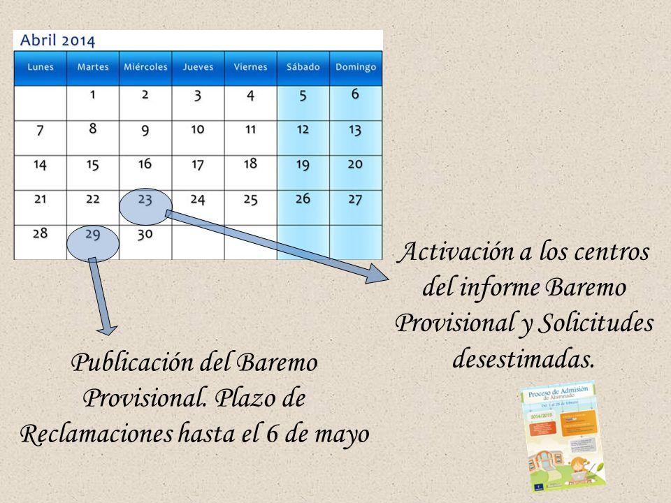 Activación a los centros del informe Baremo Provisional y Solicitudes desestimadas.