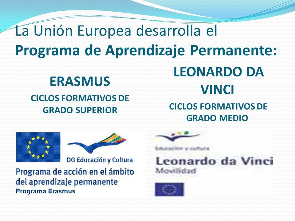 La Unión Europea desarrolla el Programa de Aprendizaje Permanente: ERASMUS CICLOS FORMATIVOS DE GRADO SUPERIOR LEONARDO DA VINCI CICLOS FORMATIVOS DE