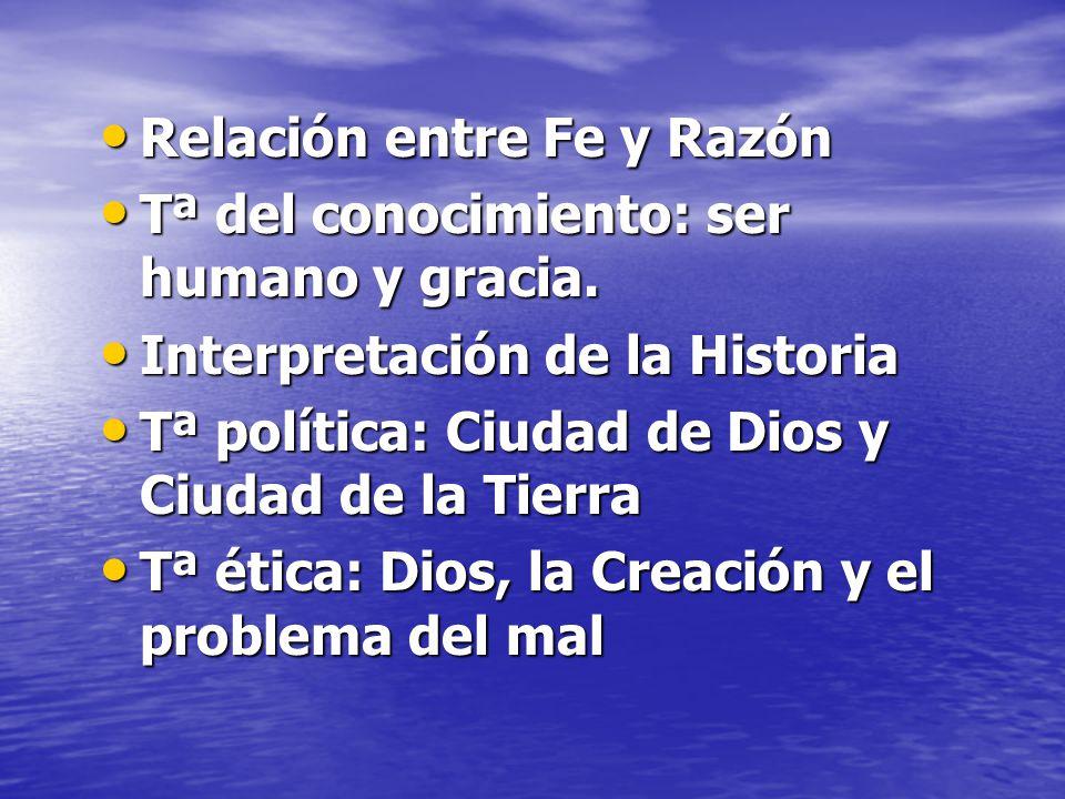 Relación entre Fe y Razón Relación entre Fe y Razón Tª del conocimiento: ser humano y gracia.