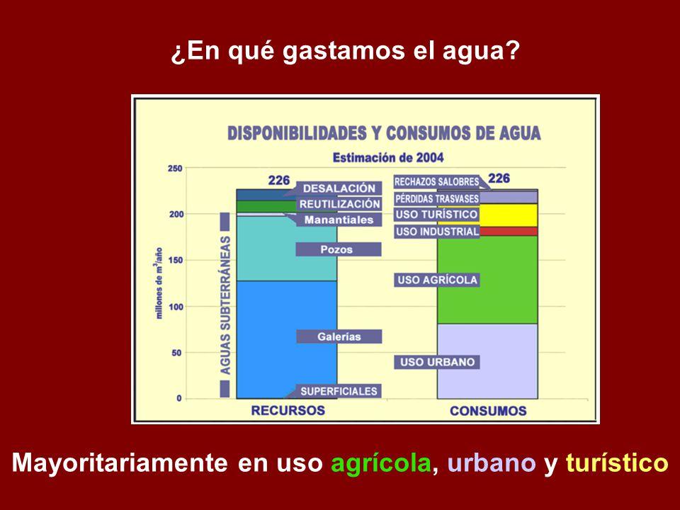 ¿En qué gastamos el agua? Mayoritariamente en uso agrícola, urbano y turístico