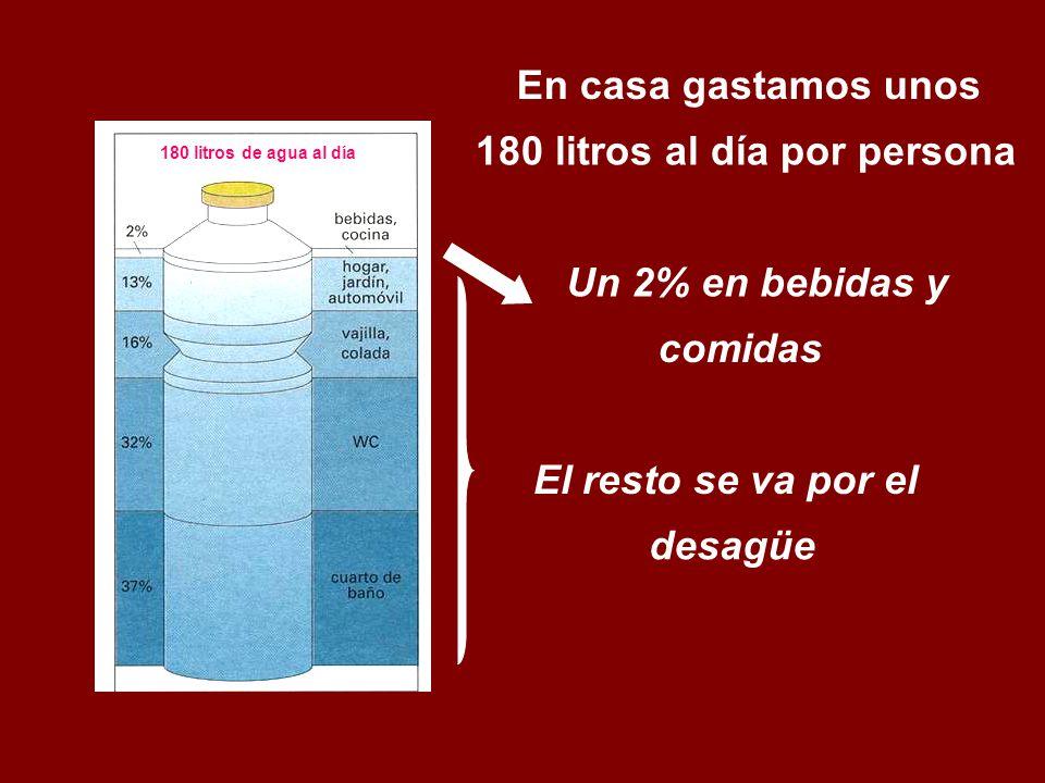 En casa gastamos unos 180 litros al día por persona El resto se va por el Un 2% en bebidas y comidas desagüe 180 litros de agua al día